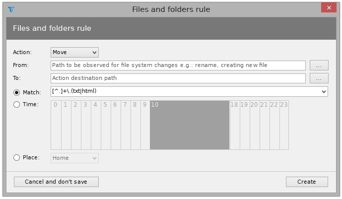File and folder rules can be created and edited using inbuilt dialog.
