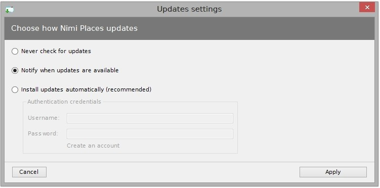 Nimi Places updates can be configured to either to automatically update, just notify or do not check for new versions.